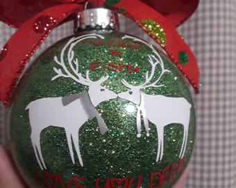 Love You Deer Ornament; Christmas Ornament; Glitter Christmas Ornament; Couple ornament; Glass Ornament; Reindeer Ornament; Glitter glass