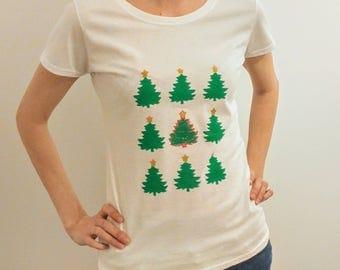 Xmas tree print t-shirt