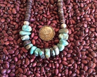 Genuine Natural Turquoise Necklace Spiny Oyster Shell, Hill Tribe Silver Beads