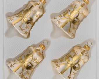 "Navidacio 4 pcs. Glass Bells Set in ""Ice Champagne"" Golden Bow New"