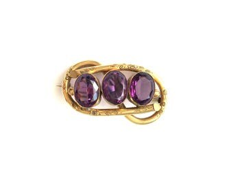 Antique Victorian Engraved Faux Amethyst Knot Pinchbeck Pin Brooch
