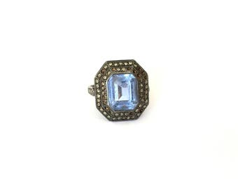 Antique French Art Deco Sterling Silver Marcasite & Blue Paste Stone Cocktail Ring Size – M/N