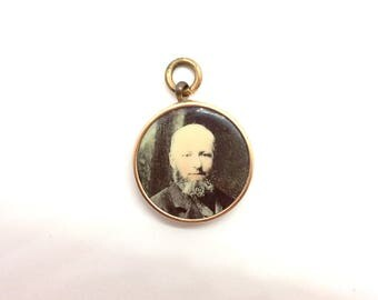 Antique Victorian 15ct Rose Gold Double Sided Glass Memorial Photograph Locket Pendant