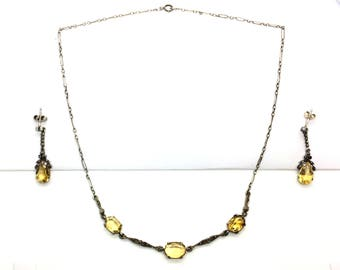 Antique Sterling Silver Art Deco Open Back Citrine Marcasite Gemstone Necklace & Earrings Set