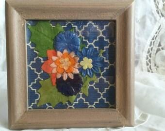 Elegant Deep Blue Framed Floral Design F38