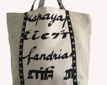 XL linen tote bag
