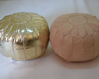2 Moroccan Leather Natural Gold Poufs Ottoman Floor Round Pouf Furniture Handmade