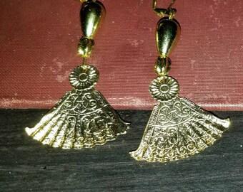 Gold Chinese Fan Earrings