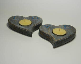 Candle holder - Heart shape - LOVE - with plastic letters