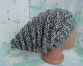 Gray Elf hat Fairytale gift Fairy hat Woodland hat Fairy pixie elf cosplay hat Slouchy knitted hat Forest fairy hat Gnome's cap Pixie hat