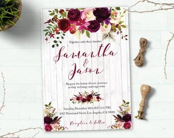 Printable Floral Boho Wedding Invitation Suite, Boho Wedding Invite, Floral Wedding Invite, Watercolor Wedding Invite, Digital Custom invite