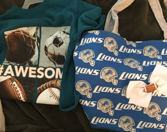 Detroit Lions Tote/purse with Sports shirt