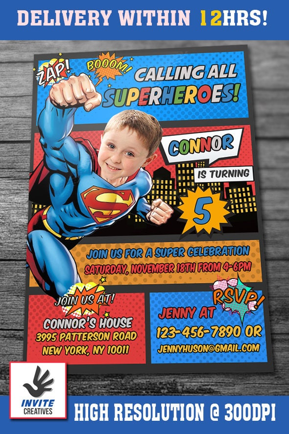 Superman invitation with custom face and free thank you card superman invitation with custom face and free thank you card superman invite superman birthday stopboris Choice Image