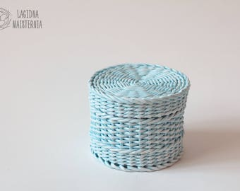 Little blue basket with lid Small nursery box Wicker jewelry storage Box for stuff Round basket for storage Pastel blue home decor