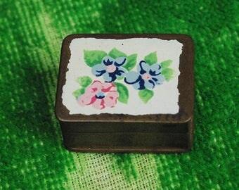 Vintage Volupte Enamel-topped Brass Pill Box