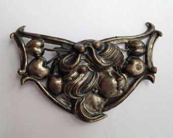 Antique Art Nouveau Costume Woman Lady Cinch Silver Plate Belt Buckle & Matching Side Accessories