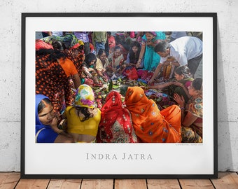 Colorful Nepal Poster, Hinduism Travel Photography Print, Asia Wall Art, Indra Jatra Festival Home Decor, Kathmandu Photo, Hindu People Art
