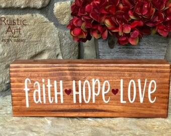 Faith Hope Love | Reclaimed Wood | Rustic Decor