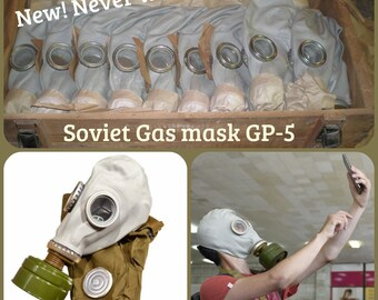 USSR Soviet Russian Military Gas Mask GP5 full set with Filter Gas Mask bag Vintage All Sizes 0-4 XS, S, M, L, XL Protivogaz Grey Rubber