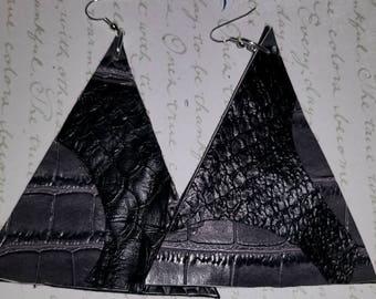 Gray & Black Snakeskin Leather Reversible CUSTOM EARRINGS