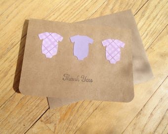 Lilac Baby Bodysuit Thank You, Baby Thank You Note with Romper Detail, Blank Kraft Card and Envelope, Purple Plaid Baby Crawler Thank You