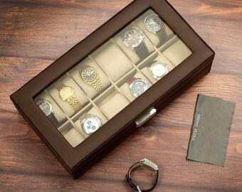 Large Espresso Leather Watch Box
