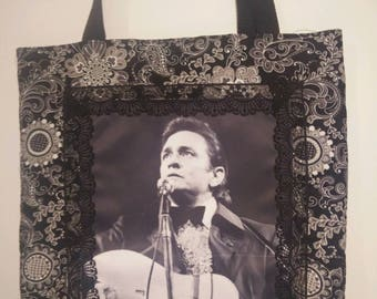 Johnny Cash (Black and White) tote bag