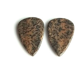 Honey Dendritic Pear Pair Cabochon,Size- 29x19 MM, Natural Honey Dendritic, AAA,Quality  Loose Gemstone, Smooth Cabochons.
