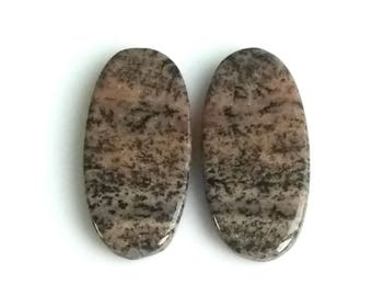 Honey Dendritic Oval Pair Cabochon,Size- 27x12 MM, Natural Honey Dendritic, AAA,Quality  Loose Gemstone, Smooth Cabochons.