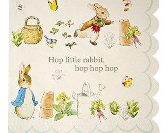 20 Large Peter Rabbit Paper Napkins, Children's Party Napkins