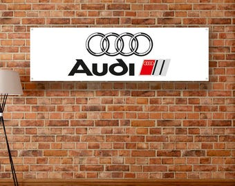 Audi Vinyl Banner Garage Poster Workshop Adversting Flag Poster Racing Car Poster Auto Poster Gift Wall Decor Art Sign