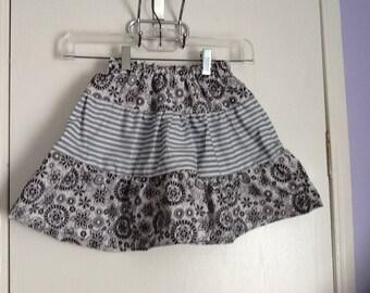 Handmade girls tiered black and white skirt, cotton, size 7