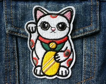 Lucky Cat Patch, Iron on Patch