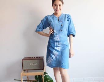 New Women's Summer Unique Vintage Style Mandarin Collar Long Sleeve Dress