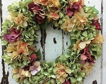 Rustic Hydrangea Wreath with Light Green, Dusty Gold and Rose Hydrangeas, Perfect for Everyday - Ready to Ship