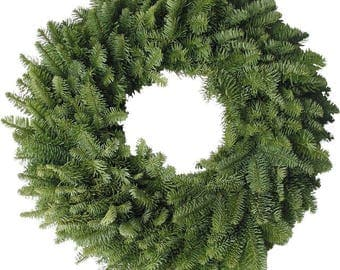 Fresh Lush Noble Fir wreath, plain, Christmas, table decoration, foliage with an attractive blue cast and fresh evergreen fragrance.