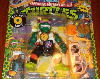 1991 Rockin Rollin Teenage Mutant Ninja Turtles Rappin Mike New In package Excellent Card