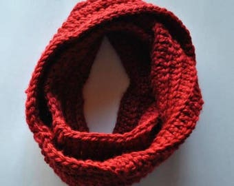 Ready To Ship-Ruby Red Bulky Infinity Scarf