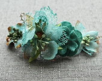 Blue floral nylon headband