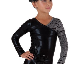 Girl's Dance Gymnastics, Competition Dress, Figure Ice Skating Dress Built in Panties Outfit. Black
