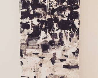 """The evolution. Canvas acrylic painting. Size 18 """"x 36""""."""