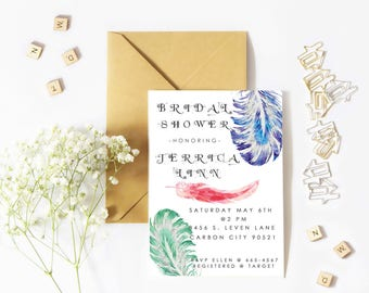 Mystical feather bridal shower printable custom digital invitation