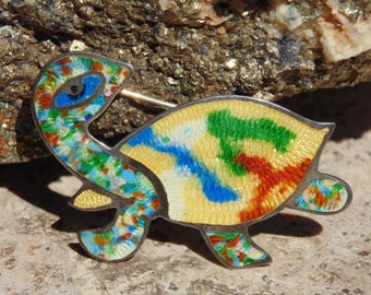 OBO - Fuentes ~ Vintage Mexican Sterling and Colorful Enamel Turtle Pin