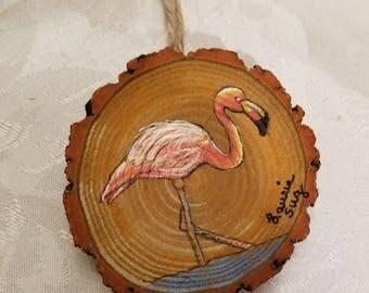 Flamingo Wood Slice Ornament , Florida Bird, Original