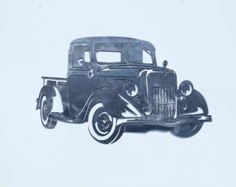 Old School Ford Truck Artwork 16g Steel