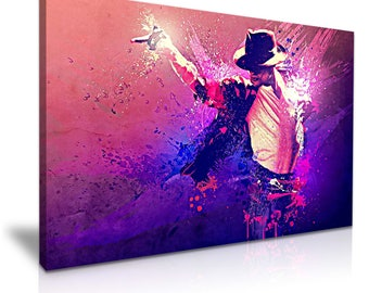 Michael Jackson Pop of King Funky Colours Stretched Canvas Wall Art Picture Print 76x50cm