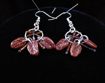 Bronze and silver handmade dream catcher earrings