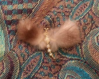 Fur Butterfly Brooch, Fur Pin, Vintage Fur Brooch, Fur Jewelry, Vintage Wedding, Vintage Gift, Winter Brooch,Elegant Statement Brooch