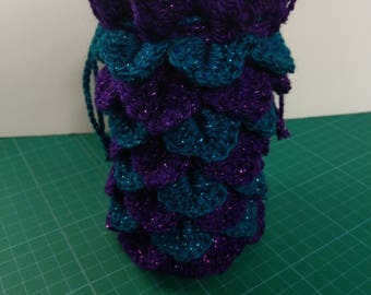 Large teal and purple Dragon scale crocheted dice bag