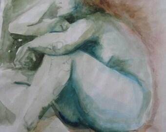 femme nue de dos assise